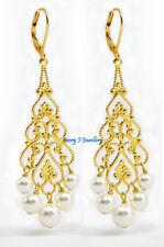 White Swarovski Pearl Chandelier Gold Plate Earrings