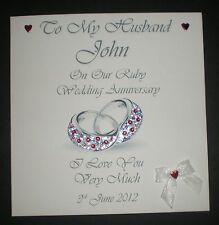 RUBY WEDDING ANNIVERSARY PERSONALISED CARD HUSBAND WIFE