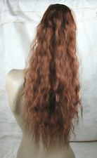 ginger red brown copper wavy curly frizzy puffy pony tail hair extension piece 1