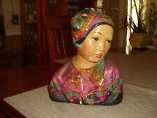 "Vintage Esther Hunt ""1919"" Butterfly Chalkware Bust"