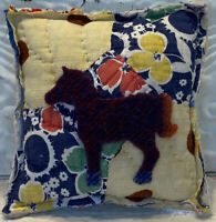 """NEW Handmade Pony Tuck Pillow Vintage Quilt Old Chenille Bedspread  6 x 6 x 2.5"""""""