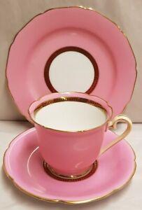 Vintage Noritake Ceramic Pink and Gold Trio c1933 Green Maruki Mark Teacup