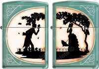 Zippo His And Hers 2 Lighter Set, Victorian Silhouette, Both Lighters Together