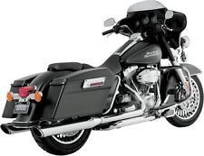 "Vance & Hines Chrome 4"" Twin Slash Round Exhaust Mufflers for Harley Touring"
