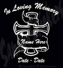 In Loving Memory Custom Personalized Vinyl Decal Sticker - Cross - Many Colors