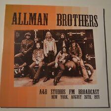 ALLMAN BROTHERS - A&R STUDIOS FM BROADCAST, LIVE 1971 - 2016 LTD. EDITION 2LP