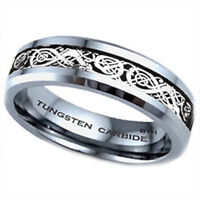 New Boxed Tungsten Carbide Silver Celtic Dragon Inlay Mens Wedding Band Ring