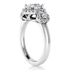 Halo Three Stone 1 CT Round Cut Diamond Engagement Ring D SI 14K White Gold