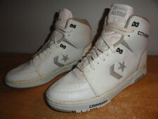 Men's Vtg 80s White/Grey Leather CONVERSE ALL STAR OG Bball Hi-Top Sneakers 10.5