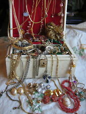 JOB LOT OF ANTIQUE & VINTAGE JEWELLERY, CORAL,NECKLACES,EARRINGS,BRACELETS & BOX
