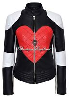 'KYLIE' Ladies Leather Jacket Quilted RED HEART Biker Style 100% REAL NAPA 1067