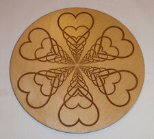 """HEARTS Wooden Engraved Crystal Grid for Love Metaphysical New Age 6"""""""