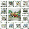 Bed Camper Happy Decor Square Cover Protector Sofa Cushion Throw Case Pillow Car
