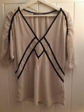 Ladies Zara Nude and Black Sheer Blouse Top Size Medium