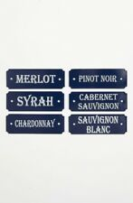 French Enamel Door Signs - French Metal Sommelier Plates - Wines