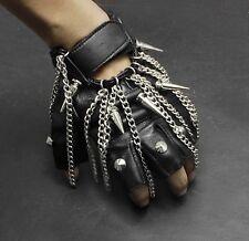 Cool Mens Unisex Spike Tassels Punk Rock Biker Real Leather Fingerless Gloves