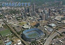 Charlotte North Carolina, Football Stadium NFL Panthers Skyline Glitter Postcard