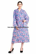 Indian Cotton Long Dressing Gown Floral Print Kimono Hippie Bath Robe Sleepwear