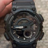 Casio AEQ-110W-1BV Mens Black 100M World Time Digital/ Analog Sports Watch New