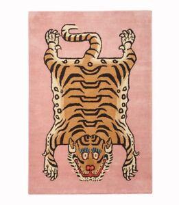 Hand Tufted Rectangle Tibetan Tiger Wool Carpet Large Meditation Rug room decor