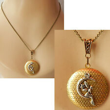 Fairy Moon Necklace Locket Pendant Jewelry Handmade Cosplay Pill Box Stash Gold