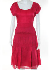 Strenesse Dark Pink Cotton Scoop Neck Knee Length  Tired Sun Dress Size 6