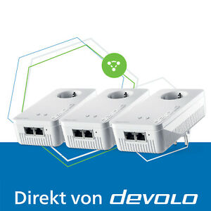 devolo Mesh WLAN 2 Powerline 2400 Mbps WiFi Verstärker 2.4 und 5 GHz 3x Adapter