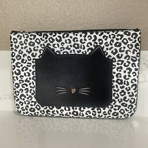 Kate Spade Meow Cat Large Zip Pouch Clutch