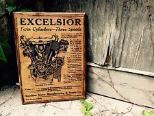 Excelsior Motorcycle Vintage Home Decor Wall Decor Wooden Picture Garage Art