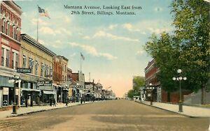 MONTANA POSTCARD: STREET SCENE OF CLARK HOTEL, DRY GOODS 29TH ST. BILLINGS, MT