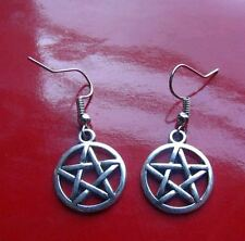 Bewitching Silver Star Pentacle Earrings on 14K White Gold Filled French Hooks