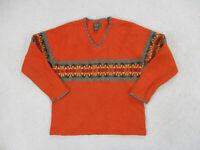 Eddie Bauer Sweater Womens Small Orange Green Lambswool Pullover Ladies *