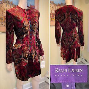 Vtg New w/ Tags RALPH LAUREN Purple Label Size 10 Multi-Color Velour Skirt Suit