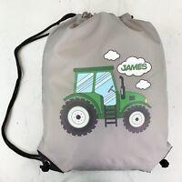 Personalised Green TractorDrawstring Grey PE Bag Kids Swimming Gym Kit School