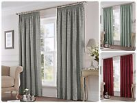 Fusion EASTBOURNE Damask Jacquard Cotton Rich Pencil Pleat Curtains