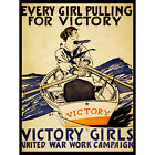 VINTAGE VICTORY GIRLS WAR WORK CAMPAIGN PULLING BOAT ROWING NEW FINE ART PRINT P