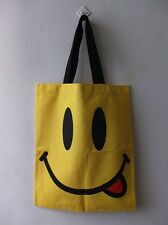 Happy Face Pop Peace Love Art Canvas Tote Bag