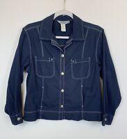 Fresh Produce, Women's Size Small Lightweight Navy Blue Jacket Shirt EUC