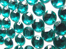 120 Emerald Dark Turquoise Beads Acrylic Rhinestones/gems 12 Mm Flat Back Sew on