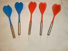 5 Plastic Darts| 2 blue and 3 red game Supplies| 1 missing plastics tips|