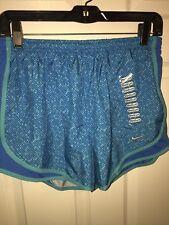 NWT Womens NIKE Dri-Fit Tempo Built-In Brief Running Shorts Sz M Blue/Green B31