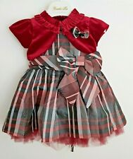 Baby Girl's Tartan Dress Maroon Red and Bolero Christmas/Party 3m-24 months