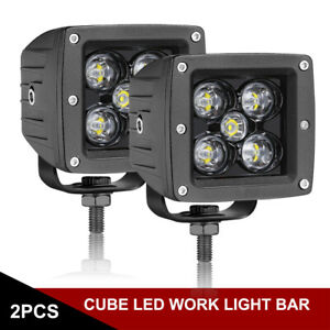 Pair 3inch CREE LED Work Light Bar Cube Pods Spot Flood Driving Offroad 4WD SUV
