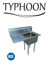 """Single Compartment Commercial 52"""" 18G Stainless Steel Sink 24"""" Left Drainboard"""