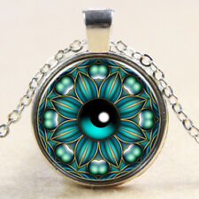 Vintage Cabochon Tibetan Silver Glass took the eye of Chain Pendant Necklace