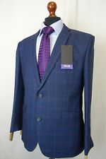 Men's New Scott By The Label Navy Check Tailored Fit Suit 42S W34 L31 KB861