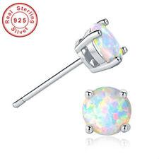 Women Classic .925 Sterling Silver Round Cut Blue White Fire Opal Stud Earrings