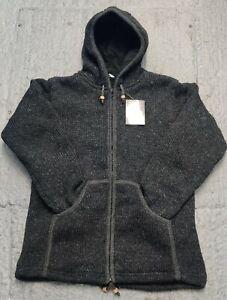Handmade in nepal Fleece Lined Winter unisex thick woolen charcoal Jacket .