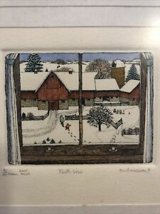 """Small Colored Pencil Framed Print """"North View"""" by Hunt Wulkowicz #95/300 1983"""