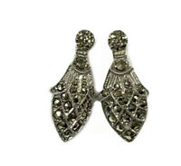 ANTIQUE OR VINTAGE Sterling Silver Marcasite Post Earrings - GIFT BOXED